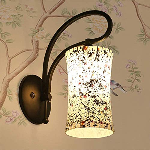 Lámparas de pared industriales, Luces de pared accesorios interior moderno chino estilo estilo sala de estar dormitorio lectura lectura lámpara mosaico empalme coloreado cristal sombra negro labrado h