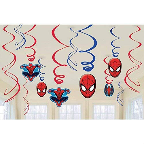 Spiderman Swirls Hanging Set of 12/ Spiderman Party Supplies/Spiderman Party Decoration