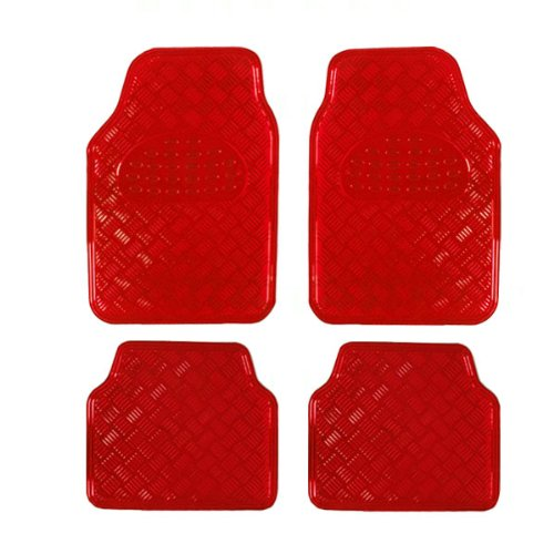 BDK MT-641-RD Universal Fit 4-Piece Set Metallic Design Car Floor Mat-Heavy Duty All Weather with Rubber Backing (Red)