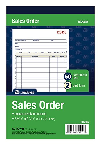 Adams Sales Order Book, 2-Part, Carbonless, White/Canary, 5-9/16 x 8-7/16 Inches, 50 Sets per Book (DC5805)