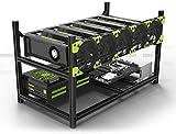 Black Server Rack 6 GPU Mining Rig Case Open Aluminu Miner Frame Air Rack for ETH/ETC ZCash Computer Chassis Unassembled Stackable