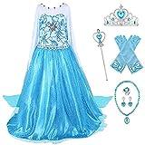YOSICIL Elsa Disfraces Niñas Disfraz de Copo de Nieve de Lentejuelas Manga Larga Vestido Frozen con Capa Princesa Costume Vestitos Fiesta Ceremonia Navidad Cumpleaños 3-9 años