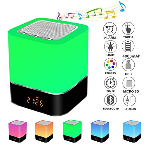 Altavoz Bluetooth Luz de Nocturna, lámpara de cabecera portátil sensible al tacto de 7 colores regulable, lámpara de altavoz Bluetooth con despertador,reproductor de MP3/radio FM/Despert de Música