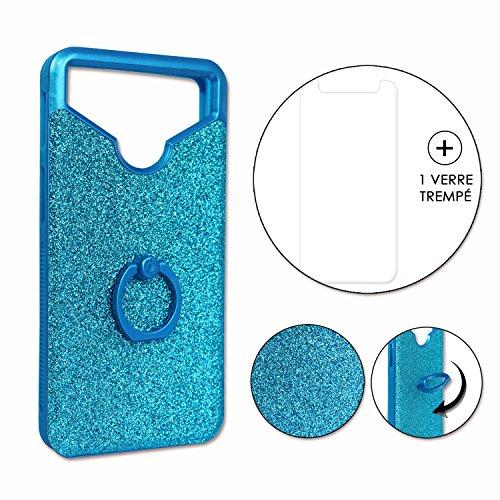 Unbekannt PH26 Allview P5 Lite Rückseitenschutz mit Strass-Effekt & Konturen, aus Silikongel, stoßfest, mit Ring für Selfies, Fotos & Videohalterung