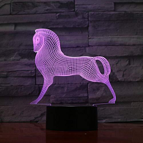 Mignon Coloré Cheval Poney Jouets Petit Poney 3D Illusion Veilleuse Acrylique Veilleuse Bébé Enfants Dormir Lampe 3D Télécommande