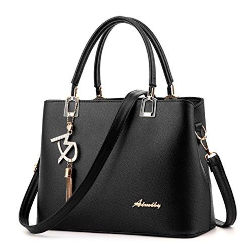 Alidear Neue Marke und Qualität Mode Damen Shopper Ledertaschen Handtaschen Umhängetasche Schultertasche Tote Bag Schwarz