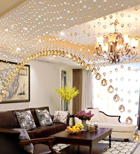 WUFENG Vorhang Kristallperlen Türvorhang Zimmertür Fenster Perlenschnur Abgeschnitten Halb Hängende Vorhänge Vorhänge (Farbe : D, größe : 180cm Wide)
