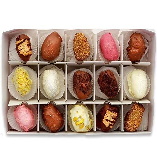 NABALI FAIRKOST FÜR ALLE 15 Stück Pralinen mit 100 % Medjoul Datteln aus Palästina und belgischer Schokolade I Pralinen 15er Box I Datteln in Schokolade I ohne Konservierungsstoffe