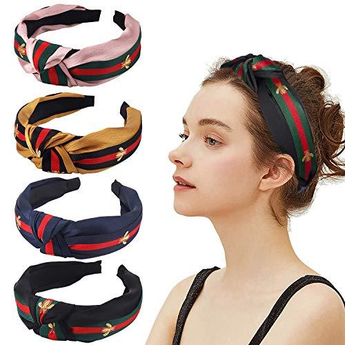 Haarbänder für Damen, Rot/Grün gestreift, 4 Stück, breite Haarbänder, gekreuzt,süßer Haarreif mit Biene,Tier-Haarband, für Mädchen, Erwachsene,Halloween,Weihnachten,Party, Dekoration, Haar-Zubehör