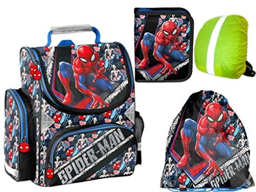 Spider-Man Rucksack Ranzen ungefüllt Federmappe Turnbeutel Regenhülle 4Teile Set neu