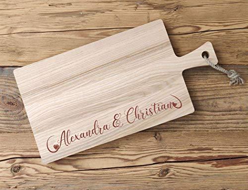 Personalisiertes Schneidebrett Holz Esche - 45 x 20 x 2 cm | Griffbrett mit Ihren Namen verewigt | Brettchen als Geschenk zur Hochzeit oder für den Liebsten