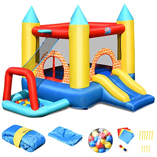 COSTWAY Hüpfburg aufblasbar, Springburg mit 30 Bälle, Hüpfschloss mit Rutsche, Spielburg für Kinder...