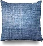 GFGKKGJFF0812 Stitch azul en blanco Jeans Denim Abstracto Fibra Lona Casual Closeup Color País Fundas de Cojín Fundas de Cojín 18 x 18 para Sofás Asientos Tiro Fundas de Almohada para Niñas