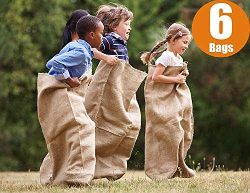 """Premium Burlap Potato Sack Race Bags 24"""" x 40"""", Sturdy, Rugged, 100% Natural Eco-Friendly Jute, Perfect Birthday Party Game for Kids & Adults. Best for School, Church, Pinic (Pack of 6)"""