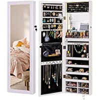 Luxfurni Mirror Jewelry Cabinet with 79 LED Lights Wall-Mount and Door-Hanging Armoire