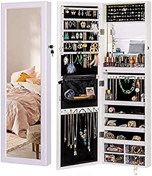 Luxfurni Mirror Jewelry Cabinet with 79 LED Lights Wall-Mount