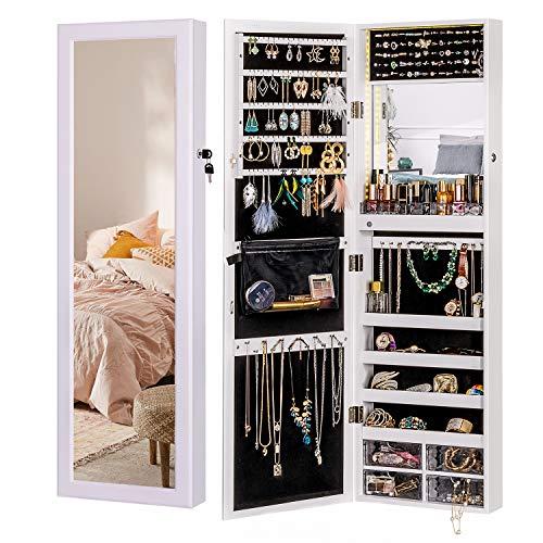 LUXFURNI LED-Licht Schmuckschrank Wandhalterung/Türspiegel Make-up Abschließbarer Schrank, großer Aufbewahrungsbehälter mit Schubladen (Weiß)