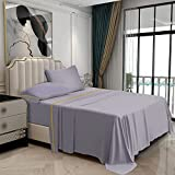 """Bakumon Bamboo Sheets Set Queen Size Bed Sheet Set 4PCs Cooling Sheets with 18"""" Deep Pocket Fitted Sheet Luxury Bed Sheet Sets for Queen Bed Hotel Silky Bedding Sheet Breathable Bedsheet-Purple Grey"""