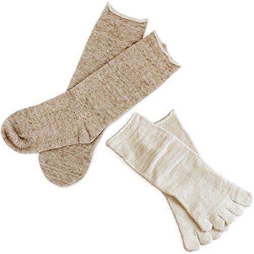 hiorie(ヒオリエ) 日本製 冷えとり靴下 内絹外綿ソックス <Mサイズ> 2足セット 5本指+カバーソックス 杢ベージュ シルク