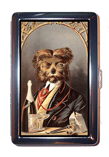Dog Drinks Champagne Vintage Illustration Stainless Steel ID or Cigarettes Case (King Size or 100mm)