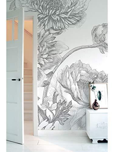 KEK Amsterdam Engraved Flowers IV, 6-delig fotobehang - zwart-wit (280cm x 292,2cm)