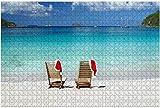 Dos sillas de teca con sombreros navideños en una playa caribeña Rompecabezas de madera exótica para adultos Regalo creativo Juguetes Rompecabezas Decoración para el hogar, 1000 piezas, 75 * 50 cm