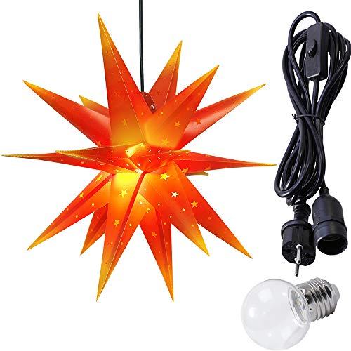 ETiME Weihnachtsstern Adventsstern Außen IP44 3,5m Kabel mit LED Weihnachtsdeko Stern 3D Kunststoff Außenstern Fensterstern Deko