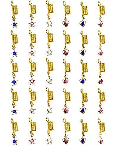 30pcs Mix Style Aluminum Gold Hair Coil Braiding Beads with Pendant charms