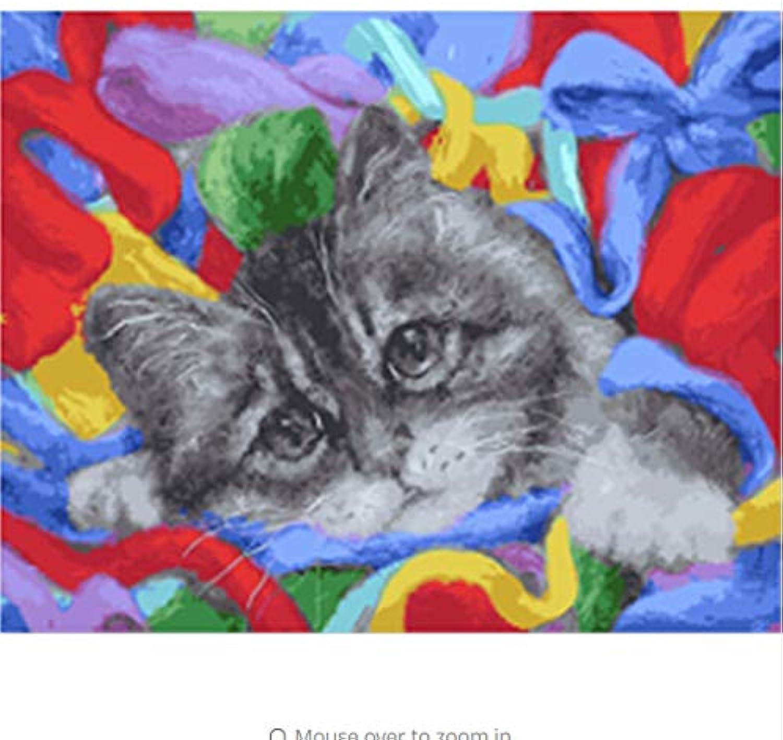 CZYYOU DIY, Kalligraphie, Malen Nach Zahlen Von Cat Animal Oil Painting Home Decor , Mit Rahmen, 50x60cm