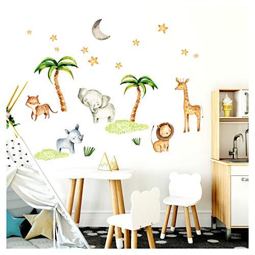 Little Deco Wandsticker Kinderzimmer Elefant Löwe Palmen Dschungel I 124 x 86 cm (BxH) I Wandtattoo Junge Deko Babyzimmer Baby Bilder Wandaufkleber DL206-23