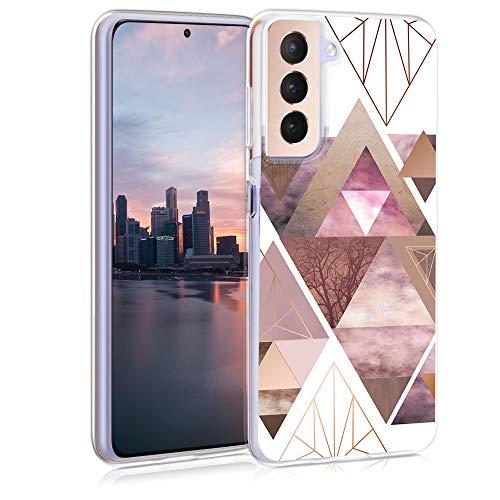 kwmobile Hülle kompatibel mit Samsung Galaxy S21 - Handyhülle - Handy Hülle Glory Dreieck Muster Rosa Rosegold Weiß