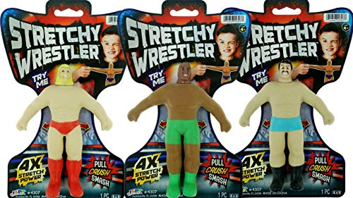 JA-RU Stretchy Toy Wrestler Figures Squish and Pull Toys (3 Pack Bulk) Stress Toys for Kids and Adults, Party Favor - Armstrong Stretch Toys for Boys and Girls Item #4307-3p