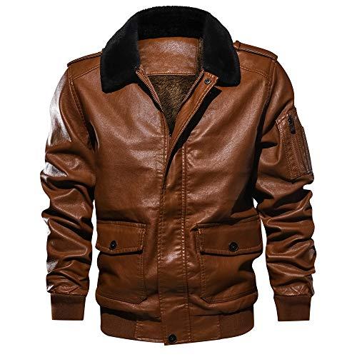 KPILP Bomberjacke Männer Retro Revers Pelzkragen Trend Leder Taschen Dick Tactical Outwear Mantel