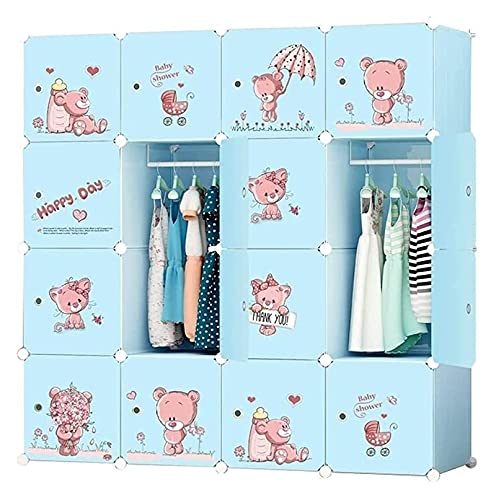 Mix Buzsu Arıtma Armario Dormitorio Combinación Cofres Dibujosure para niños Dibujos Animados Económico Mueble de Almacenamiento de plástico Gabinete de Acabado (Color : Blue, Size : 146X47X146cm)