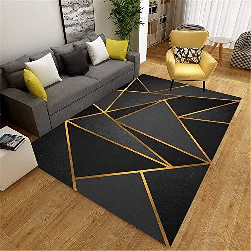 Kunsen Alfombras De Salon Negro Alfombra de salón triángulo Negro patrón clásico Alfombra de salón Antideslizante Alfombra Suelo Bebe El 160X230CM Alfombra Silla Ruedas 5ft 3''X7ft 6.6''