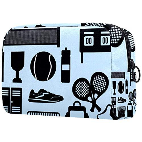 KAMEARI Bolsa de cosméticos simple negro raqueta de tenis pelota grande bolsa de cosméticos organizador multifuncional bolsas de viaje
