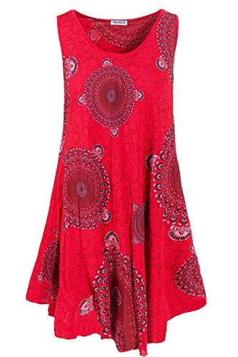 PEKIVESSA Strandkleid große Größen Damen ärmellos Sommerkleid Rot 48+50 (Herstellergröße 3XL)