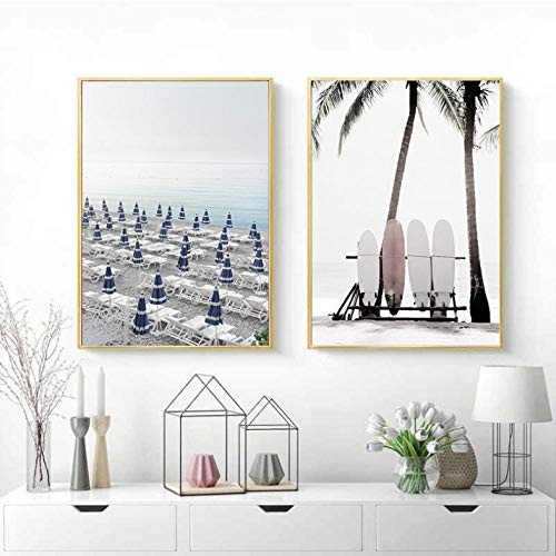 HKYSD Amalfi Coast Umbrella Poster Nature Landscape Print Sea Beach Surfboard Canvas Art Painting Seascape Picture Wall Decor-40X60Cmx2 No Frame