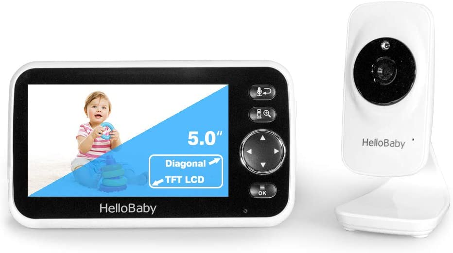 Baby Monitor,HelloBaby Baby Monitor with Camera and Audio, 5'' Color LCD Screen, Infrared Night Vision Camera,VOX Mode, Temperature Display, Lullaby, Two Way Audio
