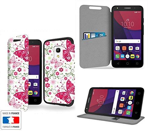 Papillon Rose et Vert Collection Pattern Custodia Pelle Ultra Slim per Alcatel Pixi 4 (5') 4G 5045D smartphone con STAND - Flip Case Funda Cover protettiva Alcatel Pixi 4 (5') 4G 5045D PU Pelle - CASE Industry accessori