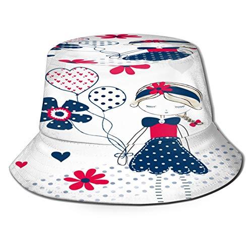 PUIO Sombrero de Pesca,Vector Lindo del diseño de la Camiseta de Las Flores de la Muchacha,Senderismo para Hombres y Mujeres al Aire Libre Sombrero de Cubo Sombrero para el Sol
