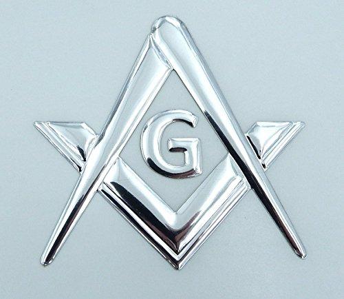 Mason Masonic Chrome Silver Decal Emblem 3D Sticker car Bike 2.5' Flexible
