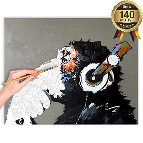 malango® Malen nach Zahlen Set Der Coole AFFE über 140 Motive für Erwachsene und Kinder DIY Leinwand Ölgemälde 40 x 50 cm ohne Rahmen Der Coole AFFE