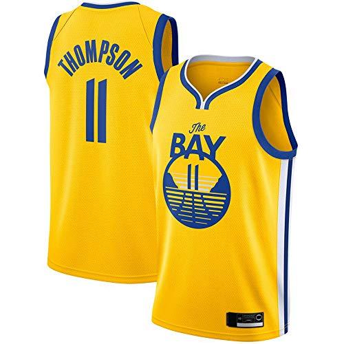 Haoshangzh55 Gli Uomini di Pallacanestro Jersey - NBA Golden State Warriors # 11 Klay Thompson, Retro Mesh Basketball Maglia Unisex T-Shirt Senza Maniche,Yellow 2,L(175~180CM)