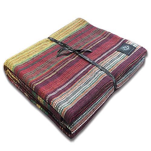Craft Story Decke Fatima I violett-rot-grün-gelb gestreift aus 100% Baumwolle I Tagesdecke I Sofa-Decke I Überwurf I Bedspread I Plaid I Picknickdecke I Läufer I 170 x 220cm