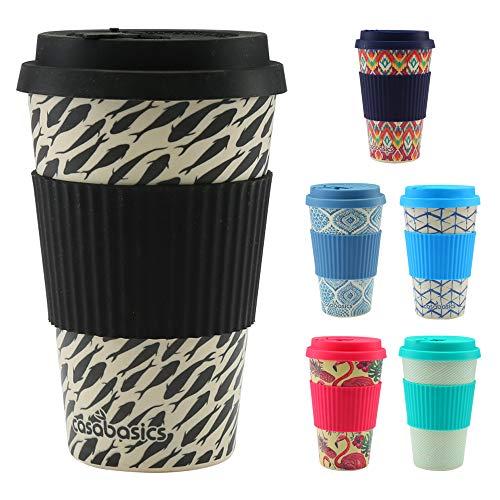 CasaBasics Designer Kaffeebecher to Go aus nachhaltigem Bambus | Kaffee to go Becher ist wiederverwendbar, Vegan, umweltfreundlich, lebensmittelecht und geeignet für die Spülmaschine | 450ml / 15oz