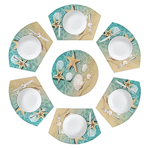 MAHU Ocean Starfish Round Table Placemat Set of 7, Beach Seashell Wedge Place Mats with Centerpiece Non Slip Washable Heat Resistant Table Mat for Home Kitchen Dining Table Runner Decor