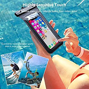 Syncwire Funda Impermeable Universal, 2 Unidades Bolsa para móvil estanca a Prueba de Agua IPX8 para iPhone 12 Pro XS MAX XR XS X 8 7 6 Plus se 5s, Xiaomi Redmi Note 7 Pro, Galaxy S10+ S9 S8, Huawei