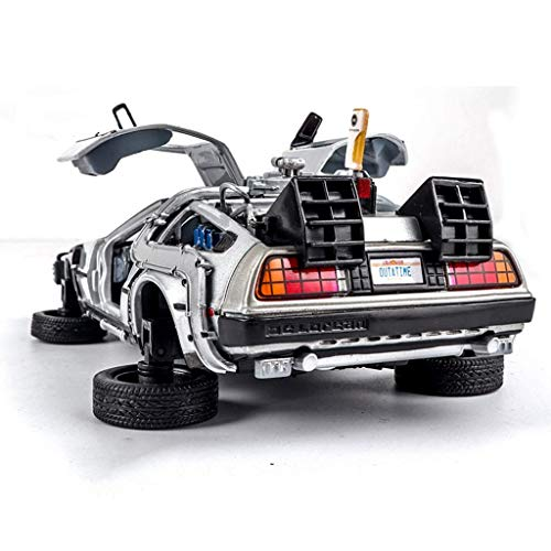 KKD Escala Modelo Simulación Vehículo Simulación de aleación de coches de juguete coches de edición limitada Adornos 1:24 Regreso al futuro modelo de coche de la plata tres estilos de modelo de coche