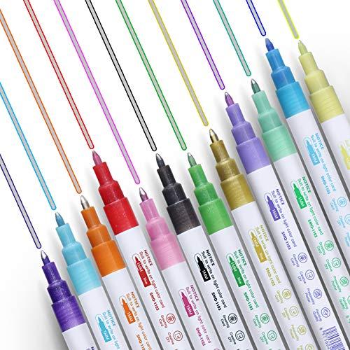 PANAMALAR Outline Stift, 12 Farben Doppelte Linie Metallischen Glitzer Zweizeiliger Stift Wasserfester Stift Acrylstifte Marker für Geschenkkarten, Malen, Grußkarten, Graffiti, Kunst